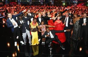 The winners of the Laureus World Sports Awards perform Usain Bolt's trademark celebratory move at the gala in Monaco on Tuesday. Bolt was adjudged the sportsman of the year while US gymnast Simone Biles won the sportswoman of the year award.
