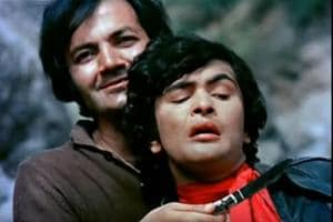 Actors Prem Chopra and Rishi Kapoor in a still from Bobby (1973).
