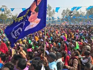 Supporters of BSP chief Mayawati at rally in Uttar Pradesh's Bilhaur constituency.