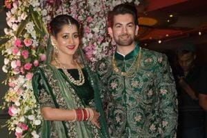 Neil Nitin Mukesh and Rukmini Sahay at their wedding reception party at JW Marriott in Juhu in Mumbai on Friday evening.
