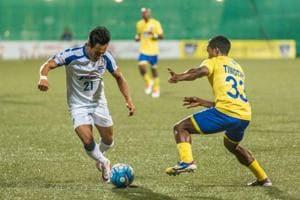 Action during the I-League match between Mumbai FCand Bengaluru FCin Mumbai on Saturday.