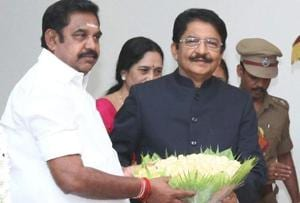 Edappadi K Palaniswami gets a bouquet from governor CH Vidyasagar Rao after taking oath as the chief minister of Tamil Nadu at the Raj Bhavan in Chennai on Thursday.