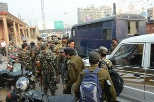 Security personnel on the route for former Siwan MP Md Shahabuddin