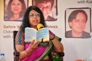 Chitra Banerjee Divakaruni reading out from her novel at the Tata Steel Kolkata Literary Meet in January
