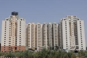 Multi-storied apartments along Noida-Greater Noida expressway, in Noida.