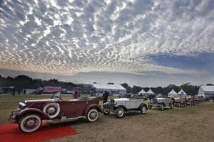 Vintage wheels parked at India Gate charm automobile enthusiasts