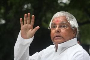 RJD chief Lalu Prasad at a press conference.