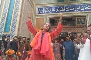 Pakistani artists perform dhamaal at Sehwan shrine after suicide...