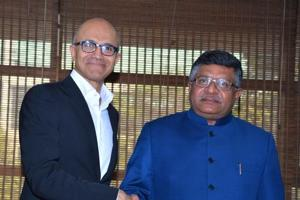 Microsoft CEO Nadella meets IT minister, discusses H-1B visa, Digigaon...