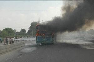 Bengaluru: Woman dies after state transport bus catches fire on...