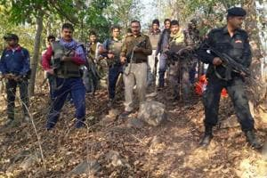 Securitymen carrying out search operation after the encounter with Maoists in Banka district of Bihar.