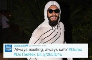 Even Durex is cashing in on brand ambassador Ranveer Singh's fashion...