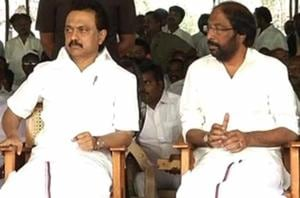 Dravida Munnetra Kazhagam (DMK) leaders, accompanied by party working...