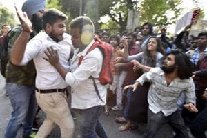 Supporters of the Akhil Bharatiya Vidyarthi Parishad (ABVP) protested...