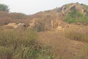 Remains of the stupa found at Ghosikund mound of Lakhisarai district of Bihar.