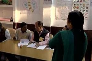 Voting underway at a polling booth in Allahabad on Thursday.