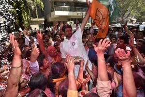 The richest candidate and BJP leader Parag Shah being greeted by his supporters at Ghatkopar on Thursday.