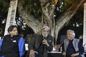 L-R: Politician Shashi Tharoor, filmmaker Muzzafar Ali and  poet Ashok Vajpeyi at the literary festival, 'Meer Ki Delhi: Words in the garden', in Delhi. The two-day event is inspired by renowned Urdu poet  Meer.