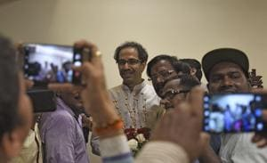 Shiv sena chief Uddhav Thackeray meets party workers at his residence on Friday.