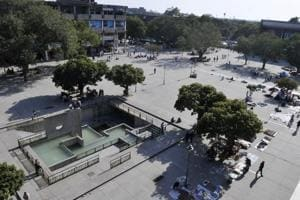 A view of Sector 17 plaza in Chandigarh, on Wednesday.