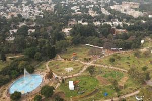 A view of Rose Garden, from a chopper during the annual fest.