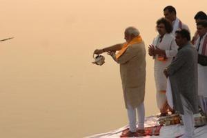 Prime Minister Narendra Modi performs Ganga aarti at Assi ghat in Varanasi.