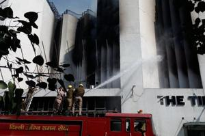 Fire continues to rage at Times of India building in New Delhi
