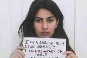 Delhi University Student Gurmehar Kaur, whose social media campaign...