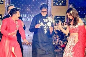 Amitabh Bachchan, Varun Dhawan and Alia Bhatt walk the ramp for...