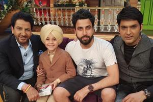 Agamvir Singh with Gurdas Maan on the sets of Comedy Nights with Kapil. and (below) a scene from the latest music video.