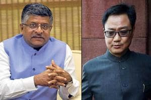 Union Ministers Ravi Shankar Prasad and Kiren Rijiju on Tuesday came...