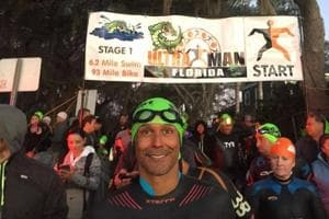 Milind Soman on the opening day of Ultraman Florida.