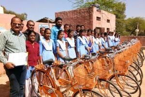 In orange cycles for Rajasthan school girls, Congress sees...