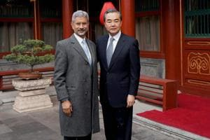 Foreign secretary S Jaishankar with Chinese foreign minister Wang Yi , Beijing, February 22, 2017