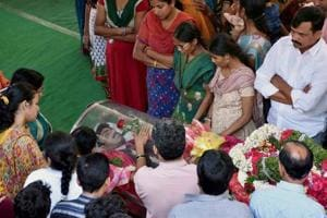 The last rites of engineer Srinivas Kuchibhotla, who was shot dead in...