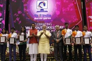 PM Modi with Rajiv Pratap Rudy, MoS for skill development and entrepreneurship, at the launch of the National Skill Development Mission in New Delhi.