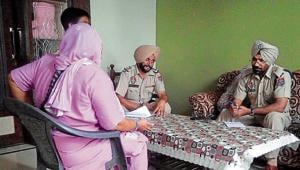 SP, investigation, Balbir Singh interacting with the kin of an arrested drug peddler at Boot village in Kapurthala.