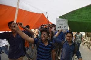 ABVP carries out protest as police investigate complaints over Ramjas clashes