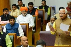 Chief minister Manohar Lal Khattar speaking during the budget session of the Haryana Vidhan Sabha in Chandigarh on Wednesday.