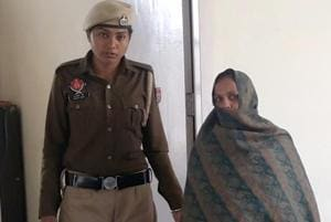 Mother of the girls in police custody in Ludhiana on Thursday.