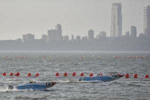 Power boats practise ahead of the Indian Grand Prix of the Seas, off Marine Drive on Thursday.