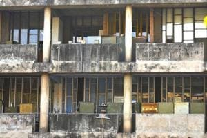 Dirty grey: The concrete facade is in dire need of a clean-up and repair.