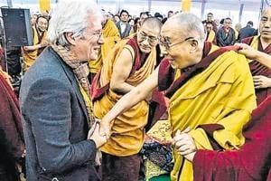 The Dalai Lama (right) with Hollywood actor Richard Gere at Bodh Gaya.