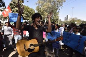 DU protests highlights: Kanhaiya, Umar, Najeeb's mother join anti-ABVP march