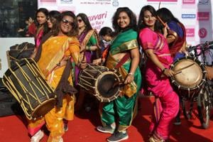 Women participate in a cycle rally to celebrate Women's Day in Thane on March 8.
