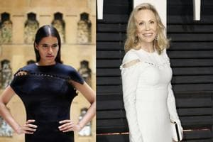 On the left is a creation by Shivan-Narresh and on the right is Faye Dunaway in a Prabal Gurung creation at the Oscars this year.