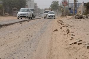Broken road in Sector 71 of Gurgaon hinders movement of residents