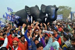 File photo of BSPsupporters at an election rally of Mayawati.