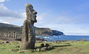 Mysterious stone statues on Easter Island.
