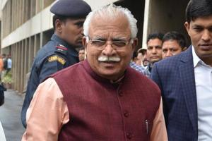 Chief minister Manohar Lal Khattar outside the assembly on Wednesday.